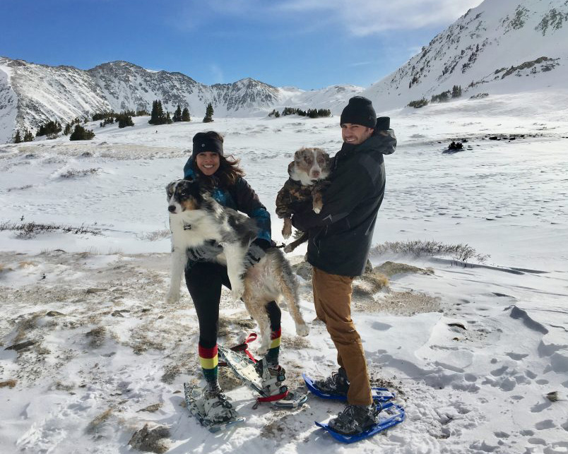 gearo founders snowshoeing with dogs